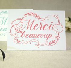 Merci Beaucoup - Thank you cards, folded card set of 10