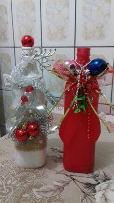 Christmas 2017, Christmas Wreaths, Christmas Crafts, Christmas Decorations, Christmas Ornaments, Diy Bottle, Wine Bottle Crafts, Felt Crafts, Diy And Crafts