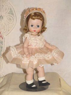 "Vintage All Original Madame Alexander 8"" Alexander Kins Doll Pink Organdy Dress"