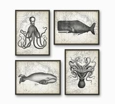 Whales And Octupuses Antique Art Print Set of 4 - Marine Home Decor - Whale And Octupus Illustration - Nautical Art Print Set of Four (B217)