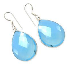 Silvestoo India Blue Chalcedony Gemstone 925 Sterling Silver Earring PG-100771   https://www.amazon.co.uk/dp/B06XXFWYZ2
