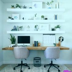 Dumbfounding Ideas: How To Build Floating Shelves Bathroom staggered floating shelves bedroom.Thin Floating Shelves Bedroom floating shelf layout home office.How To Build Floating Shelves Bathroom. Guest Room Office, Home Office Space, Home Office Design, Home Office Decor, House Design, Office Room Ideas, Bedroom Office Combo, Home Office Shelves, Modern Office Decor