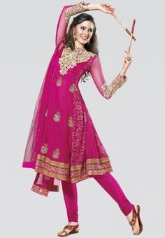 Embroidered Pink dress material