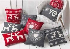 Reindeer Scandinavian Christmas Cushions. Red, Grey, White.