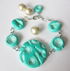 Mermaids RockTurquoise Faux Ceramic Polymer Clay Fossil Bracelet by blessen, $24.00   Check out The Polymer Arts Magazine for one of my faux ceramic necklaces!!(2014-Spring)
