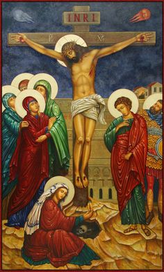 """[Crucifixion icon, by Ann Chapin.] """"Look, look on Jesus, poor and crucified… Religious Icons, Religious Art, Catholic Company, Lenten Season, Christ The King, Byzantine Icons, Holy Week, Catholic Art, Orthodox Icons"""