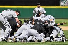 The White Sox enjoying a no hitter.