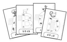 abécédaire que les élèves complètent en écrivant les noms des images dessinées dans les lettres (dictée muette)  Une fois les mots écrits, les élèves colorient et décorent leur page. A la fin toutes les pages sont reliées et on obtient un abécédaire.