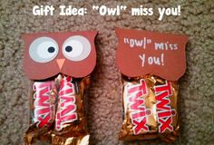 """End of year treat for students: """"Owl"""" miss you! Miss You Gifts, Thank You Gifts, Fairwell Gifts, Work Gifts, School Treats, School Gifts, Owl Miss You, Goodbye Gifts, Goodbye Party"""