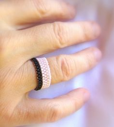Pink and black beaded ring - CUSTOM made to order by ElephantBeads