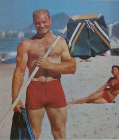 Blackhawks legend Bobby Hull shills for Jantzen swimwear, 1967, Chicago.