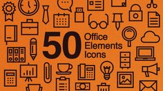50 Office Elements Icons.  Features.  Minimal design Custom overlap animation 3 seconds animate in 4K resizable Adjustable colors Editable stroke width Circle shape layer included.  Includes.  Stationery icons Digital icons Communication icons Supplies & extras icons