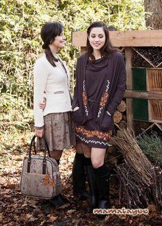 [Left] cardigan: Cilantro / Dress: Wine Mulled / Bag: Miel. [Right] Dress: Anís Estrellado / Cardigan: Nuez Moscada. www.mamatayoe-shop.com