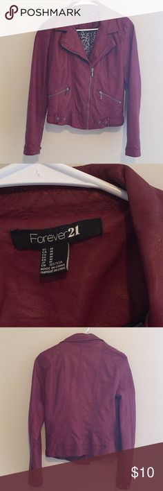 Forever 21 Maroon Leather Jacket Forever 21 Maroon Leather Jacket Size Medium Forever 21 Jackets & Coats