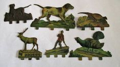 Vintage Lithograph Tinplate Toy Animals c.1900 Hunting Display