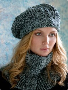Wondering if I could get away with this??  Vogue Knitting Pattern: Sandra Cabled Cowl and Beret