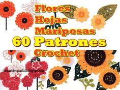 60 diagramas ganchillo de flores mariposas y hojas