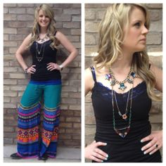 Boho palazzo pant with rockin' accessories & Sagrada Collection boots. Hot!  Southern Thread Austin, TX.