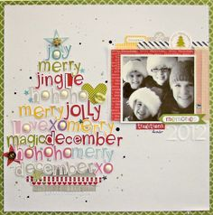 Christmas Cheer Layout by Nicole Nowosad. Christmas Scrapbook Layouts, Scrapbook Paper Crafts, Christmas Layout, Christmas Tree, Christmas Design, Baby Scrapbook, Scrapbook Cards, Wedding Scrapbook, Disney Scrapbook