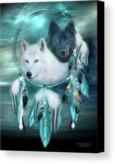 Dream Catcher White Wolf Black Wolf canvas print featuring the art of Carol Cavalaris.