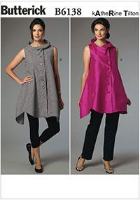 Misses Top Butterick Sewing Pattern No. 6138. Size XS-M.