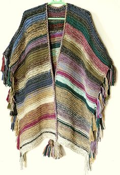 Long poncho Bulky Mexican Unisex Fringed cover-up Handknit urban striped Poncho Gaucho wrap Boho Festive Hippie wear NORTH WIND - Stricken Ideen Poncho Au Crochet, Knit Crochet, Alpaca Poncho, Gaucho, Pull Oversize Court, Festival Hippie, Boho, Yarn Colors, Crochet Clothes