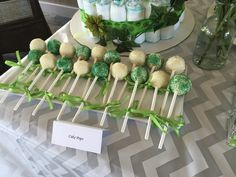 Two peas in a pod baby shower theme cake pops