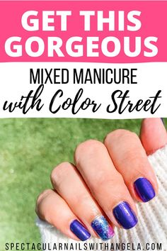 There's no excuse for your at home manicure to be slacking. Create an easy DIY mixed manicure at home in under 10 minutes with Color Street. Give your nails a beachy vibe with Evening Sky and Paint The Town in stunning shades of pearlescent deep purple with a holographic white glitter. This salon quality nail polish adds instant glamour to any outfit. Shop now and get a perfect for the beach summer nail design with SPECtacular Nails with Angela. #summernailpolish #prettynails #purplenails Mix Match Nails, Summer Nail Polish, Outfit Shop, Evening Sky, Manicure At Home, Nail Polish Strips, Purple Nails, White Glitter, Color Street