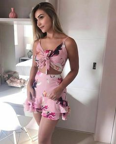 Casual two piece outfit for summer. Spring Dresses Casual, Spring Outfits, Casual Outfits, Cute Outfits, Summer Dresses, Dress Casual, Urban Fashion, Fashion Looks, Womens Fashion