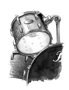 Drums  print by ashleysilvernell on Etsy, $15.00 Drummer Tattoo, Drums Wallpaper, Drum Drawing, Petit Tattoo, Pearl Drums, Drums Art, Drum Music, Music Drawings, Music Tattoos