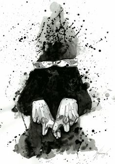 Black illustration with artliner, watercolor and ink.