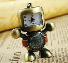 2PCS Antique Bronze Robot With Compass Necklace by shareliving, $13.00