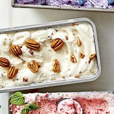 Bourbon-Butter-Salted Pecan Ice Cream Recipe - Try a small twist on classic Butter-Pecan Ice Cream by adding a couple tablespoons of bourbon. Pecan Desserts, Pecan Recipes, Ice Cream Desserts, Frozen Desserts, Ice Cream Recipes, Frozen Treats, Cold Desserts, Dessert Recipes, Dessert Dishes