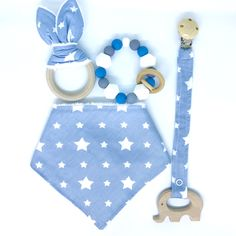 "Baby set teething ""STARS. Included: ▪️bandana bib ▪️bunny ears with a wooden ring ▪️wooden toy holder ▪️silicone bracelet teether"
