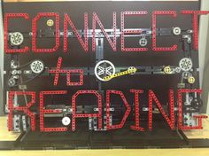 Book week 2014 'Connect to Reading' library display made with technic lego.