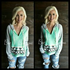 Mint Sassy Sequin Hoodie ~ Follow @bar_t_boutique on Instagram for Weekly New Arrivals
