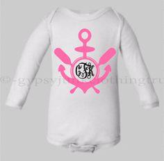 Baby Girl Onesie - Monogram Girl Onesie - Take Home Outfit - Anchor Onesie - Baby Girl Outfit - Nautical Onesie - Anchor Shirt - Baby Gift