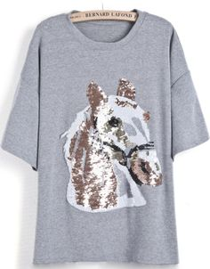 Grey Short Sleeve Sequined Horse Pattern T-Shirt US$26.23