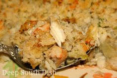Seafood and Eggplant Dressing from Deep South Dish, a breaded seafood dressing, sometimes referred to as a casserole, made with fresh shrimp, crabmeat and eggplant.