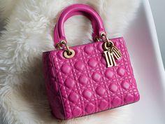 Color Crushing on the Lady Dior Bag in Hot Pink Sac Lady Dior, Christian Dior Bags, Dior Saddle Bag, Pink Clutch, Little Bag, Bag Sale, Rose, Hot Pink, Pink Ladies