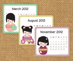 2012 Printable Kokeshi mini calendar  ^.^