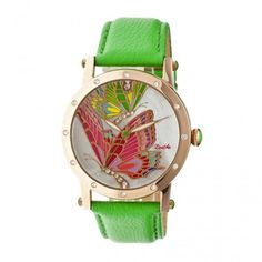 Bertha Isabella Mother of Pearl Green Leather Ladies Watch BR4305