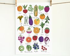 French ABC alphabet fruit vegetable herb 13x19 by GeraldineAdams, $38.00