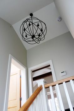Light fixture over stair.