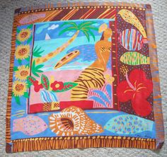 Ken Done 89 Island Girl Vintage 1980s Tropical Beach Signed Print Scarf, $30.00