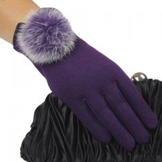 Royal Purple Pom Gloves