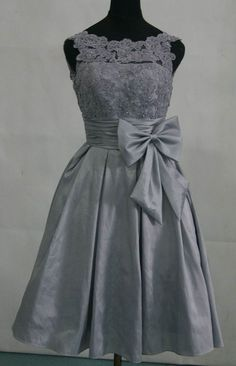 Taffeta silver grey bridesmaid dress prom dress with by AFairyland, $120.00
