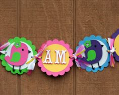 Colorful Birdie Bird Name Banner by AngiesDesignz on Etsy