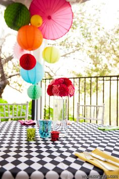 Balloons, lanterns, and parasols with this carnival decor for this fun wedding! Vendors: Hummingbird House, Cory Ryan Photography, Hot Pink Brides, Pink Avocado Catering, Premiere Party Central