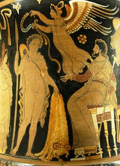 Jason returns with the golden fleece on an Apulian red-figure calyx krater, ca. 340–330 BC.